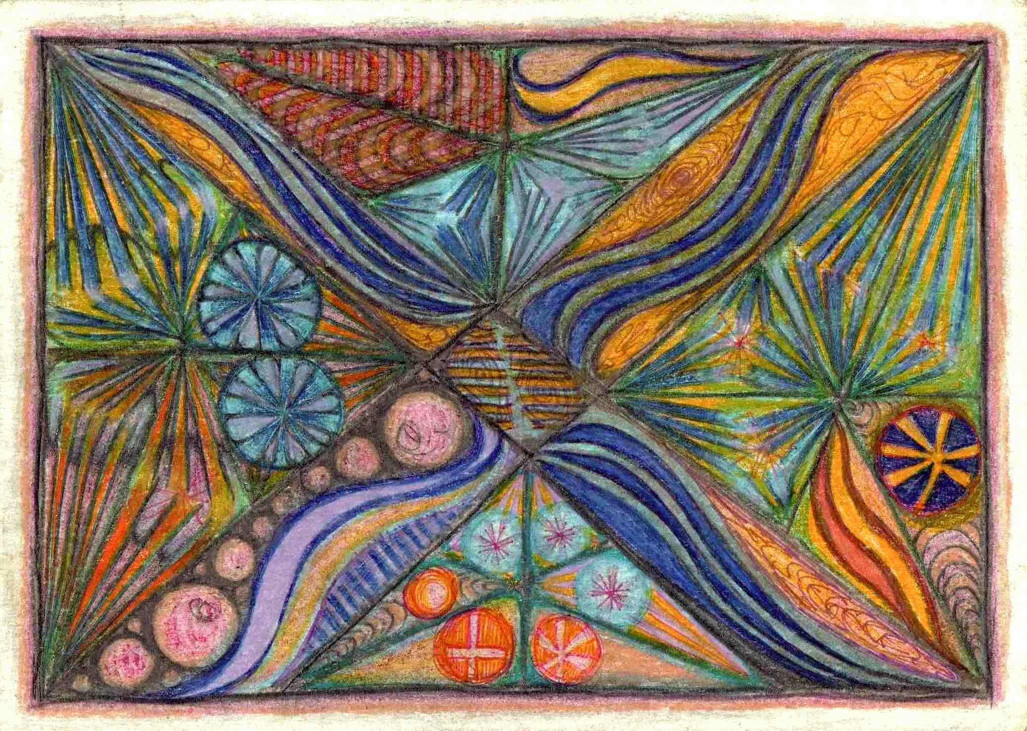 mandala, circles, spirals, colors, colored pencil